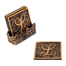 Edwardian Monogram Coaster Set, L