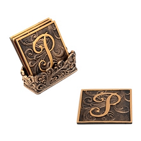 Edwardian Monogram Coaster Set, P