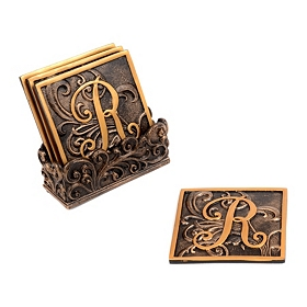 Edwardian Monogram Coaster Set, R