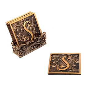 Edwardian Monogram Coaster Set, S