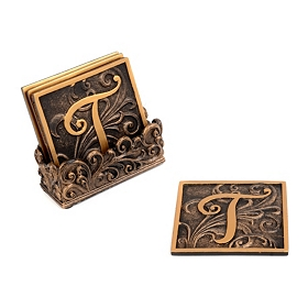 Edwardian Monogram Coaster Set, T