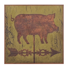Pig Due East Framed Birchwood Art Print