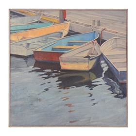 Docked Boats on the Water Birchwood Art Print