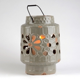 Gray Ceramic Floral Cut-Out Lantern