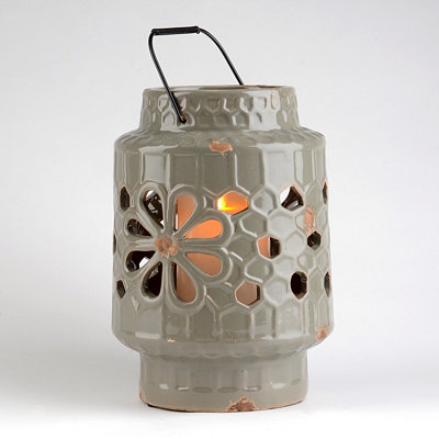 Gray Ceramic Floral Cut-Out Lantern