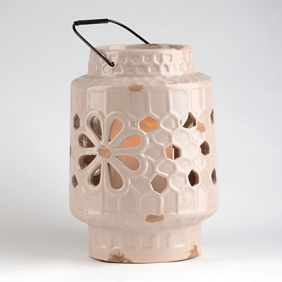 Ivory Ceramic Floral Cut-Out Lantern