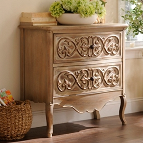 Carved Antique Cream 2-Drawer Chest