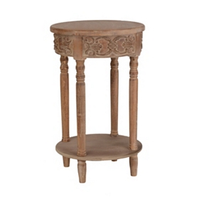 Natural Carved Round End Table