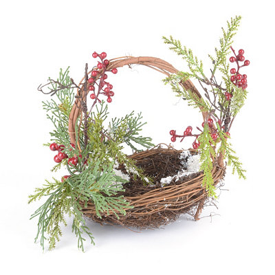 Berry and Pine Basket Arrangement, 8 in.
