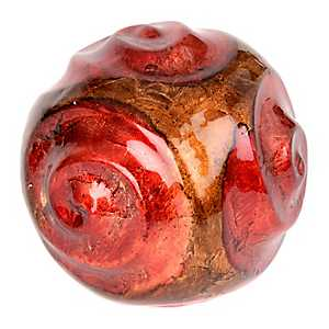Ceramic Swirls Red Foil Finish Orb