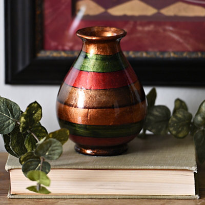 Red Stripe Color Infusion Mini Vase