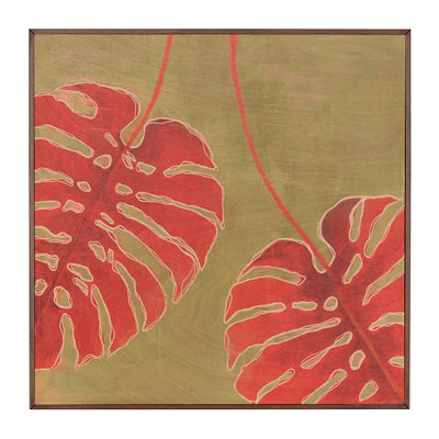 Red Monstera Leaf Framed Birchwood Art Print