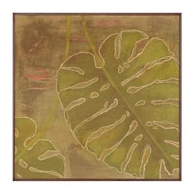 Green Monstera Leaf Framed Birchwood Art Print