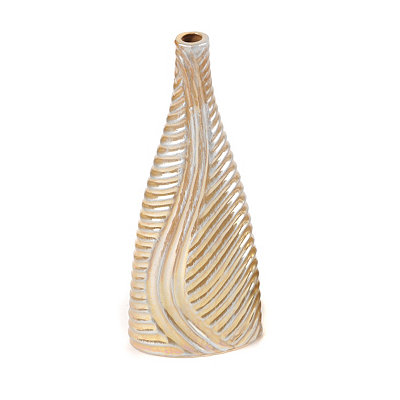 Spanish Gold Swirled Triangle Vase