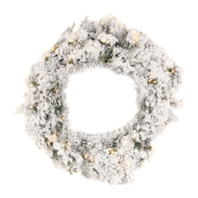 Pre-Lit Flocked Pine Wreath, 24 in.