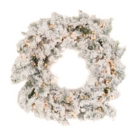 Pre-Lit Flocked Pine Wreath, 32 in.