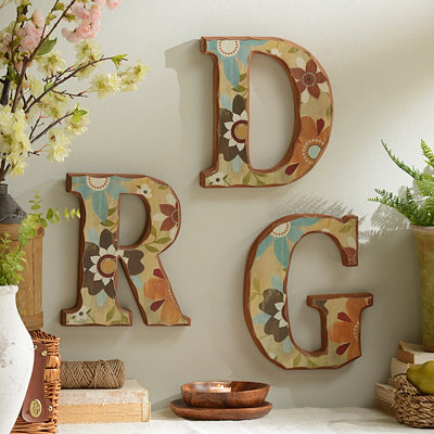 Vintage Floral Monogram Wall Plaque