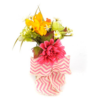 Dahlia Jar Arrangement with Pink Chevron Bow