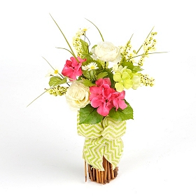 Spring Flower Stack with Green Chevron Bow