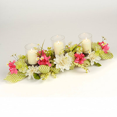 Dahlia Centerpiece with Green Chevron Bow