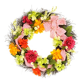 Spring Wreath with Chevron Ribbon, 30 in.