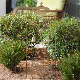 Welcome Trellis with Bells Metal Stake
