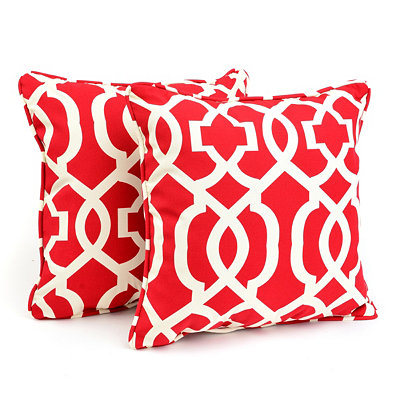 Red Geometric Outdoor Accent Pillows, Set of 2