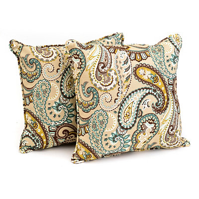 Paisley Outdoor Accent Pillows, Set of 2