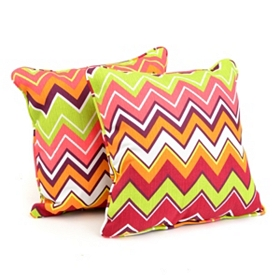 Chevron Color Outdoor Accent Pillows, Set of 2