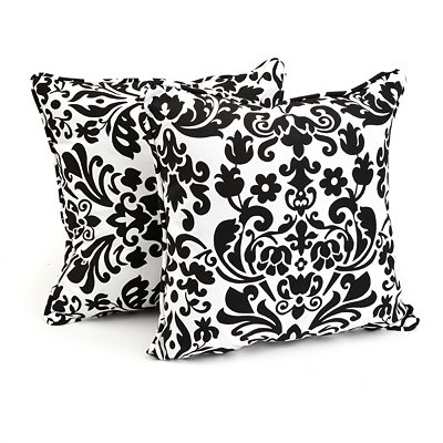 Black Damask Outdoor Accent Pillows, Set of 2