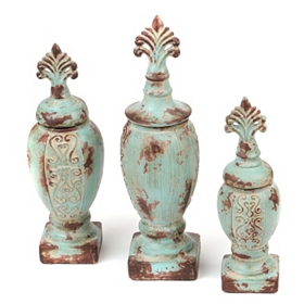 Turquoise Antiqued Ceramic Jars, Set of 3