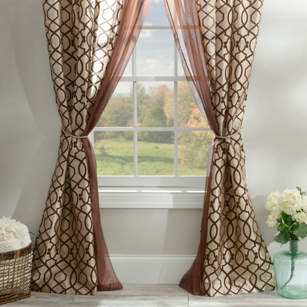 Charlize Taupe 6 Piece Curtain Panel Set
