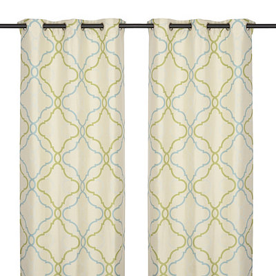 Grand Manor Green Curtain Panel Set 84 In