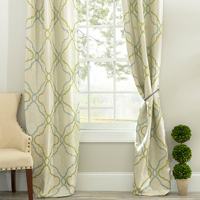 Grand Manor Green Curtain Panel Set, 84 in.