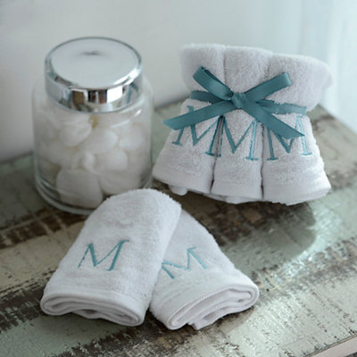 Aqua Monogram Washcloths, Set of 6