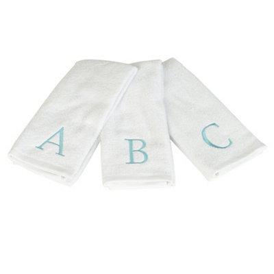 Aqua Monogram Hand Towels, Set of 2