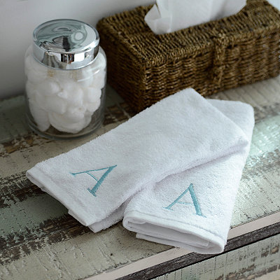 Aqua Monogram Hand Towels, Set of 2