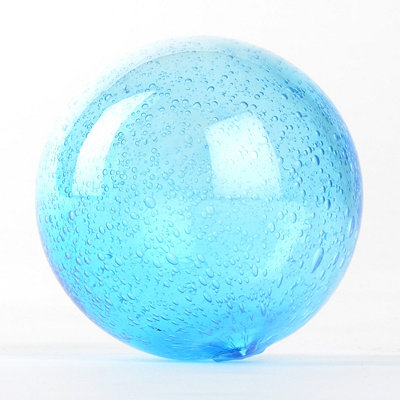 Turquoise Mouth Blown Glass Orb