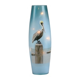 Pre-Lit Blue Glass Pelican I Hurricane