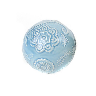 Blue Cottage Ceramic Orb