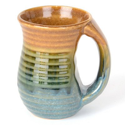 Blue Ribbed Glazed Ceramic Mug