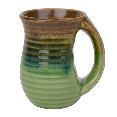 Green Ribbed Glazed Ceramic Mug