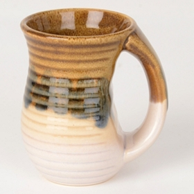 White Ribbed Glazed Ceramic Mug