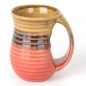 Red Ribbed Glazed Ceramic Mug