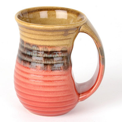 Red Ribbed Glazed Ceramic Mug
