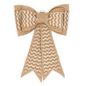 Tan Chevron Burlap Door Bow