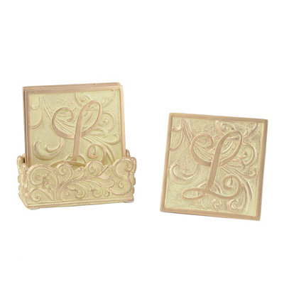 Edwardian Monogram L Cream Coaster Set