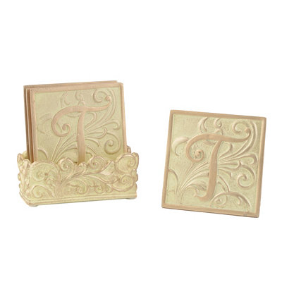 Edwardian Monogram T Cream Coaster Set
