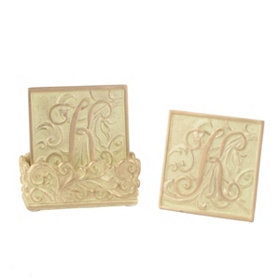 Edwardian Monogram K Cream Coaster Set