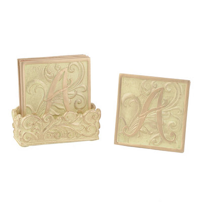 Edwardian Monogram A Cream Coaster Set